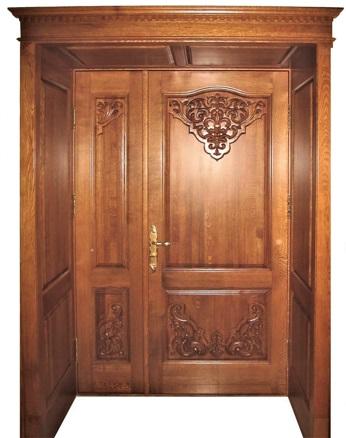 Двухстворчатая дверь из массива дуба №02